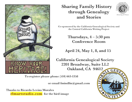 Flyer for Genealogy Workshops